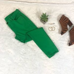 J. CREW | Green Toothpick Ankle Skinny Jeans